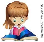happy girl reading book... | Shutterstock .eps vector #691901545