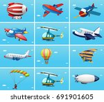 different types of aircrafts... | Shutterstock .eps vector #691901605