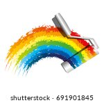 paint roller and rainbow. | Shutterstock .eps vector #691901845