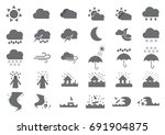 thirty weather solid icons | Shutterstock .eps vector #691904875