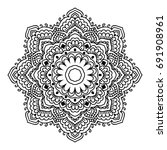 mandala. black and white... | Shutterstock .eps vector #691908961