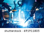 welding robots movement in a... | Shutterstock . vector #691911805