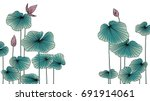 lotus flowers with leaves... | Shutterstock .eps vector #691914061