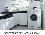 home kitchen with washing...   Shutterstock . vector #691915471