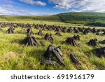 turf fossil fuel drying on a... | Shutterstock . vector #691916179