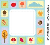 cute autumn frame with fall... | Shutterstock .eps vector #691920319