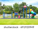 colorful playground on yard in... | Shutterstock . vector #691920949