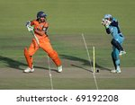 SOUTH AFRICA - DECEMBER 22: Unidentified players during a one-day cricket match between the Eagles and Titans (Titans won by four wickets) on December 22, 2009 in Bloemfontein, South Africa - stock photo