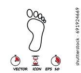 foot icon vector   stock vector ... | Shutterstock .eps vector #691924669