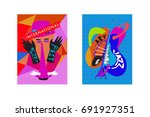 colorful international jazz... | Shutterstock .eps vector #691927351