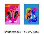 colorful international jazz... | Shutterstock .eps vector #691927351