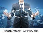 double exposure of professional ... | Shutterstock . vector #691927501