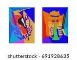 colorful international jazz... | Shutterstock .eps vector #691928635