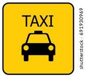 taxi sign yellow. vector. | Shutterstock .eps vector #691930969