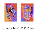 colorful international jazz... | Shutterstock .eps vector #691931365