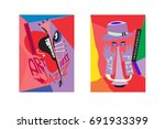 colorful international jazz... | Shutterstock .eps vector #691933399