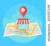 local seo banner  map and shop... | Shutterstock .eps vector #691937149