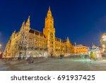 night panorama of marienplatz... | Shutterstock . vector #691937425