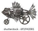 steampunk style fish  european... | Shutterstock . vector #691942081
