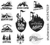 set of mountain camping ... | Shutterstock .eps vector #691947019