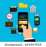 money transaction. mobile... | Shutterstock .eps vector #691947919