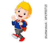 cute boy on his way to school | Shutterstock . vector #691950715