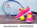 pink sneakers with yellow laces ... | Shutterstock . vector #691952305