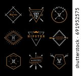 hipster badges collection | Shutterstock .eps vector #691952575