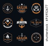 vintage sailor   nautical badges | Shutterstock .eps vector #691952677
