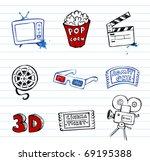 cinema symbols vector set  hand ...   Shutterstock .eps vector #69195388