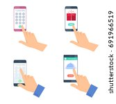 hands hold the mobile phones. a ... | Shutterstock .eps vector #691966519