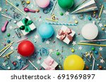 birthday party background with... | Shutterstock . vector #691969897