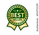 ribbon award best seller. gold... | Shutterstock .eps vector #691972159