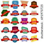 set of twenty discount stickers.... | Shutterstock .eps vector #691973725