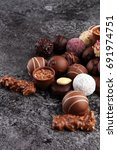 a lot of variety chocolate...   Shutterstock . vector #691974751