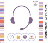 headphones with microphone icon | Shutterstock .eps vector #691976395