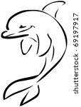 Dolphin Draw Isolated On Withe...