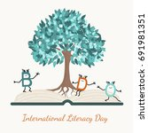literacy day concept symbol... | Shutterstock .eps vector #691981351
