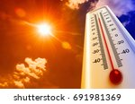 heat  thermometer shows the... | Shutterstock . vector #691981369