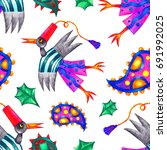 seamless pattern with fantasy... | Shutterstock . vector #691992025