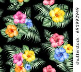 tropical seamless pattern of... | Shutterstock . vector #691992949