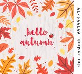 Hello Autumn Card On Gray...