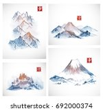 four paintings of blue... | Shutterstock .eps vector #692000374