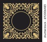 golden decorative frame. floral ... | Shutterstock .eps vector #692006485