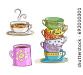 set of cups and mug. vector... | Shutterstock .eps vector #692010301