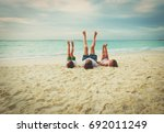 father and little son and... | Shutterstock . vector #692011249
