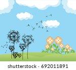 landscape vector flower and dry ... | Shutterstock .eps vector #692011891