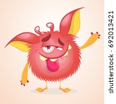 pleased funny monster cartoon.... | Shutterstock .eps vector #692013421