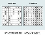 vector sudoku with answer 87.... | Shutterstock .eps vector #692014294