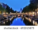 amsterdam canal scenic view at...   Shutterstock . vector #692015875
